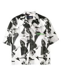 Camisa de manga corta estampada en negro y blanco de DSQUARED2
