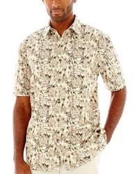 Camisa de manga corta estampada marrón claro