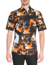 Camisa de manga corta estampada naranja