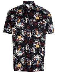 Camisa de manga corta estampada negra
