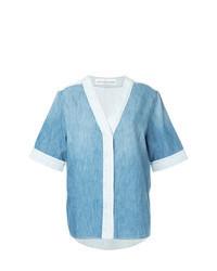 Camisa de manga corta vaquera celeste