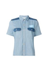 Camisa de manga corta vaquera celeste de Calvin Klein Jeans