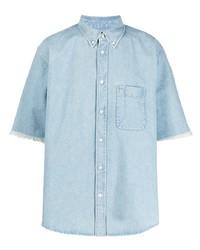 Camisa de manga corta vaquera estampada celeste de Balenciaga