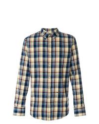 Camisa de manga larga a cuadros azul marino de DSQUARED2