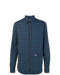 Camisa de manga larga a cuadros azul de DSQUARED2