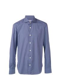 Camisa de manga larga a cuadros azul de Kiton
