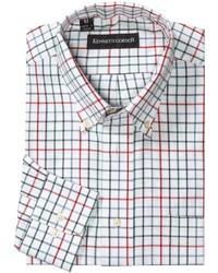 Camisa de manga larga a cuadros blanca