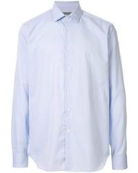 Camisa de manga larga a cuadros celeste de Corneliani