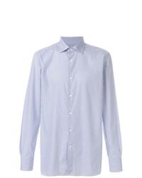 Camisa de manga larga a cuadros celeste de Ermenegildo Zegna