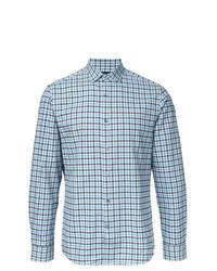 Camisa de manga larga a cuadros celeste de Kent & Curwen