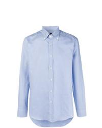 Camisa de manga larga a cuadros celeste de Mp Massimo Piombo