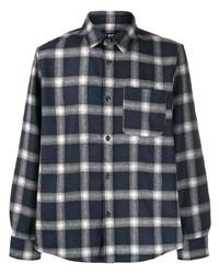 Camisa de manga larga a cuadros en azul marino y blanco de A.P.C.