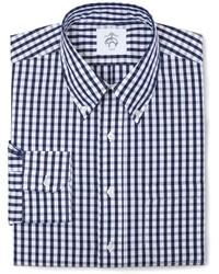 Camisa de manga larga a cuadros en blanco y azul marino