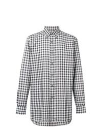 Camisa de Manga Larga a Cuadros en Blanco y Negro de Brioni