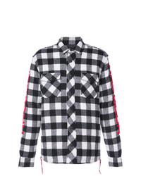Camisa de Manga Larga a Cuadros en Blanco y Negro de Haculla