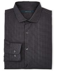 Camisa de manga larga a cuadros en gris oscuro