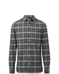 Camisa de manga larga a cuadros en gris oscuro de Burberry