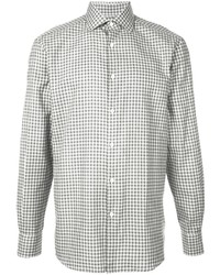 Camisa de manga larga a cuadros en negro y blanco de Ermenegildo Zegna