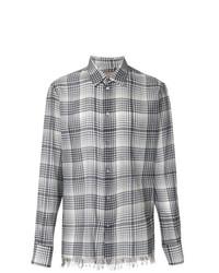 Camisa de manga larga a cuadros en negro y blanco de Federico Curradi