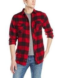 Camisa de manga larga a cuadros en rojo y negro de Burnside