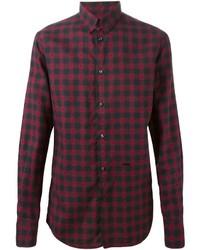 Camisa de manga larga a cuadros en rojo y negro de DSQUARED2