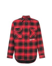 Camisa de manga larga a cuadros en rojo y negro de Off-White