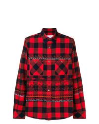 Camisa de manga larga a cuadros en rojo y negro de Sacai