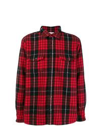 Camisa de manga larga a cuadros en rojo y negro de Saint Laurent