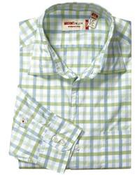 Camisa de manga larga a cuadros en verde menta