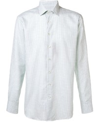 Camisa de manga larga a cuadros en verde menta de Etro