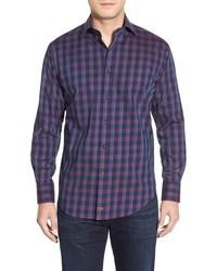 Camisa de manga larga a cuadros en violeta