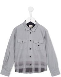 Camisa de manga larga a cuadros gris de Armani Junior