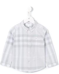 Camisa de manga larga a cuadros gris de Burberry