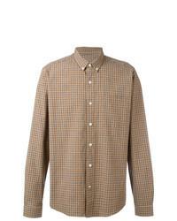 Camisa de manga larga a cuadros marrón claro