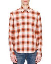 Camisa de manga larga a cuadros naranja