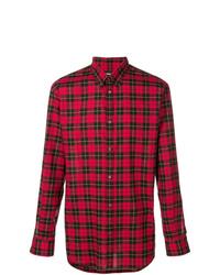 Camisa de manga larga a cuadros roja de DSQUARED2