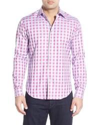 Camisa de manga larga a cuadros rosa