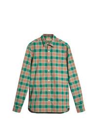 Camisa de manga larga a cuadros verde de Burberry