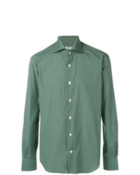 Camisa de manga larga a cuadros verde de Kiton
