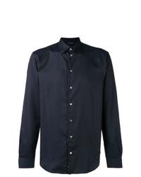 Camisa de manga larga a lunares azul marino de Emporio Armani
