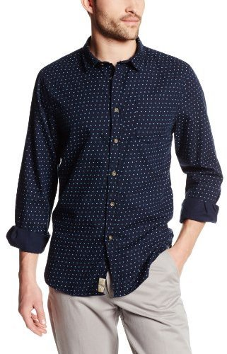 Camisa de manga larga a lunares azul marino de JACHS New York