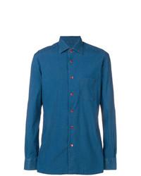 Camisa de manga larga a lunares azul de Kiton