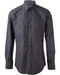 Camisa de manga larga a lunares en azul marino y blanco de Dolce & Gabbana