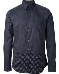 Camisa de manga larga a lunares en azul marino y blanco de Paul Smith