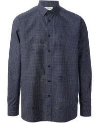 Camisa de manga larga a lunares en azul marino y blanco de Saint Laurent