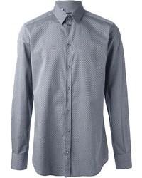 Camisa de manga larga a lunares gris