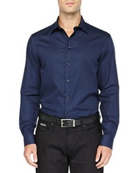 Camisa de manga larga azul marino original 359244