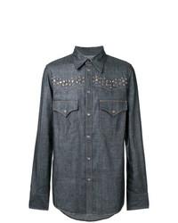 Camisa de manga larga azul marino de DSQUARED2