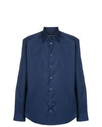 Camisa de manga larga azul marino de Emporio Armani