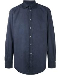 Camisa de Manga Larga Azul Marino de Massimo Alba